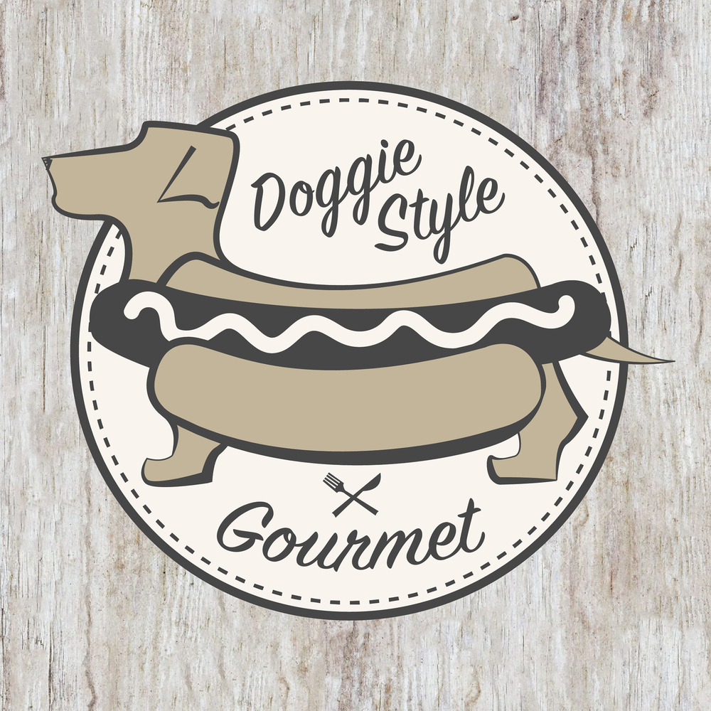 Logo for a small gourmet hotdog cart with a provocative name but sophisticated style