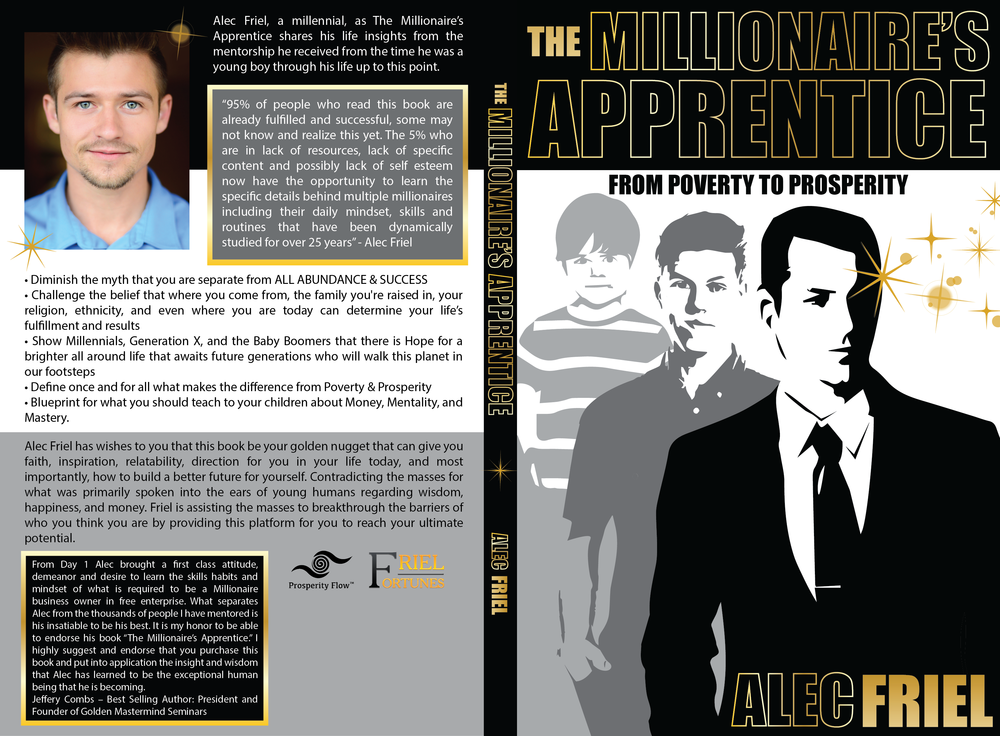 Book cover, spine, &back design for Alec Friel's first paperback novel, available on Amazon
