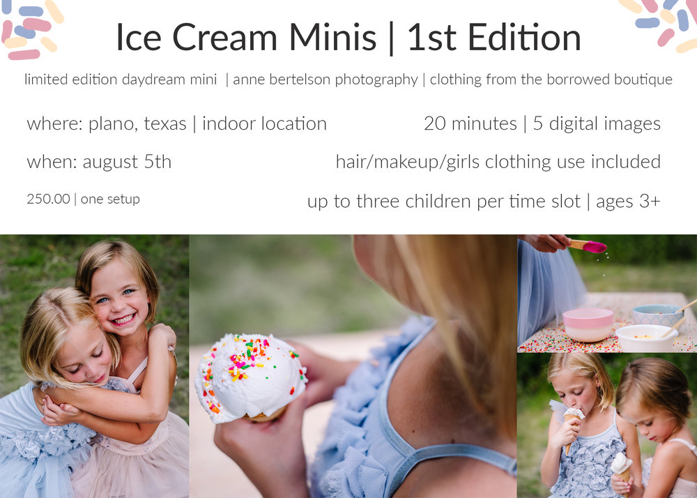 ice cream minis 2017 | anne bertelson photography | plano, dallas, rockwall, mckinney, allen, parker, highland park child, newborn and fashion photographer |