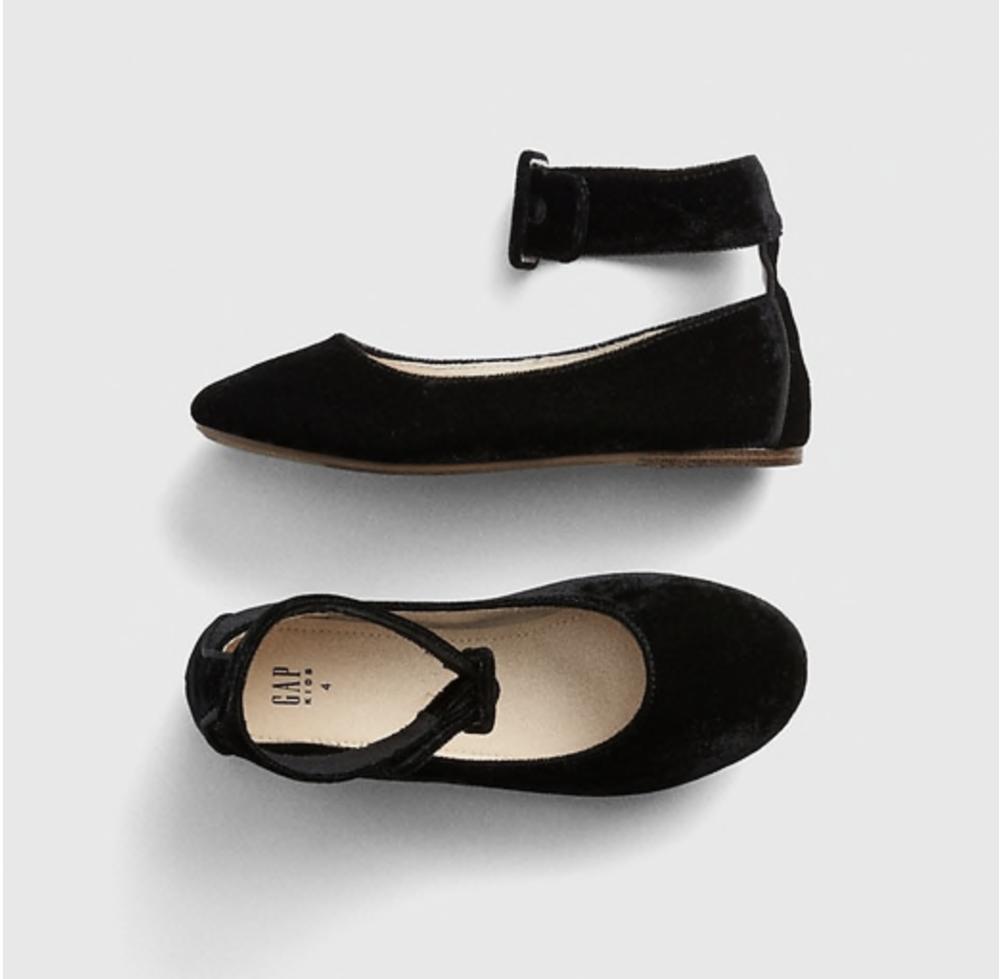 Velvet Ankle-Strap Flats | GAP Kids