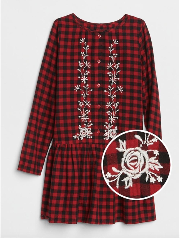 Embroidered Plaid Dress | GAP Kids