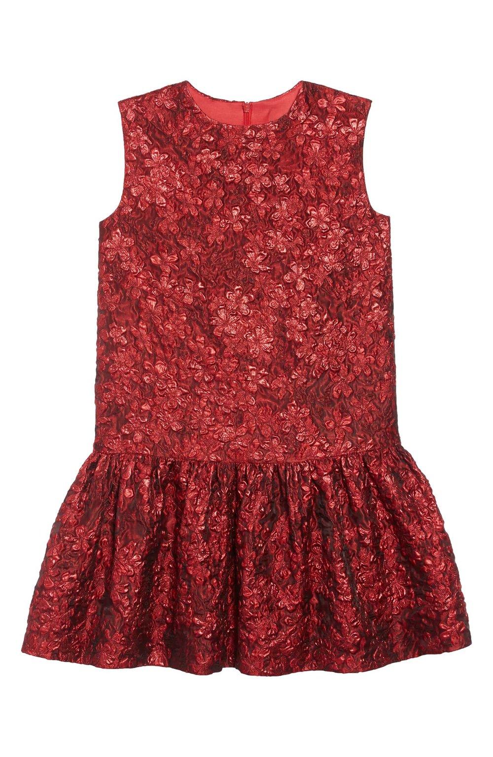 OSCAR DE LA RENTA Metallic Flower Jacquard Drop Waist Dress | Nordstrom