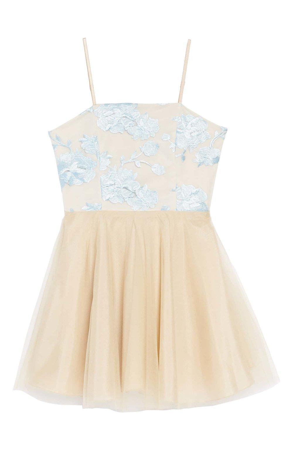 UN DEUX TROIS Floral Embroidered Tulle Dress | Nordstrom
