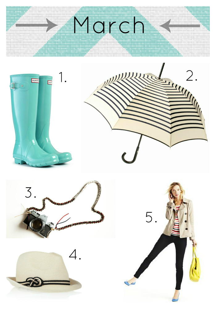 [1]  Hunter rain boots  in lagoon [2]  John Paul Gaultier Preppy Stripes Umbrella  [3]  SFK metallic paisley camera strap  [4]  Gap outfit , head-to-toe [5]  Eugenia Kim trilby hat