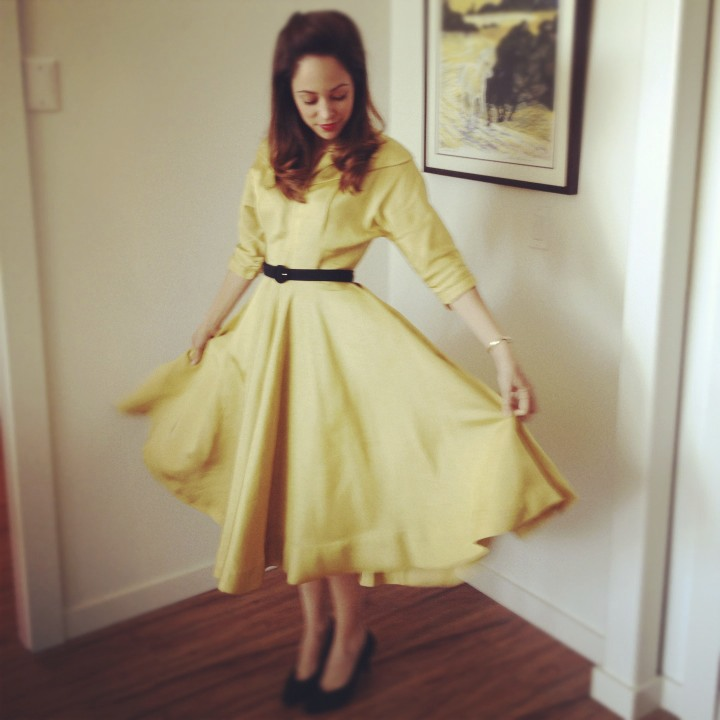The film also gave me the opportunity to wear the most beautiful vintage dresses, like this 1930's yellow silk Dior and 1940's suited red dress.