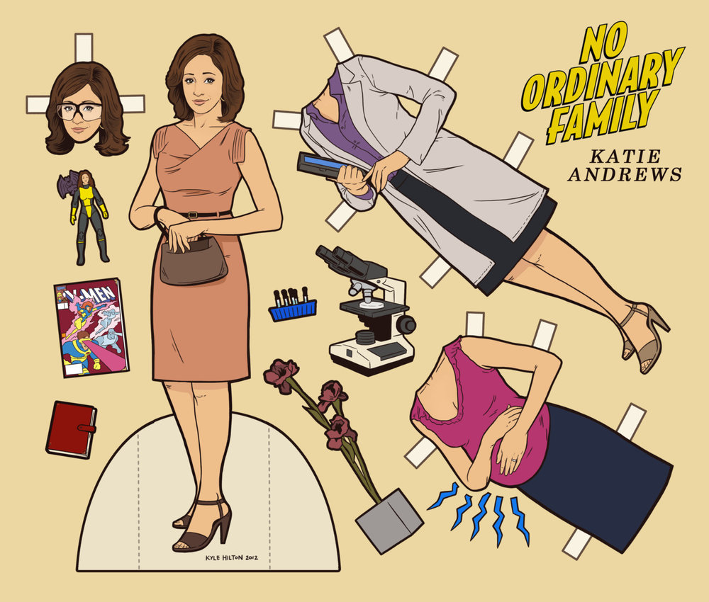 Katie Andrews paper dolls by Kyle Hilton