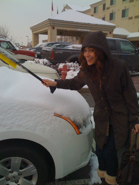 Being a California girl, I had no idea that you had to scrape ice off a windshield, and even less of an idea of how I was supposed to do that!