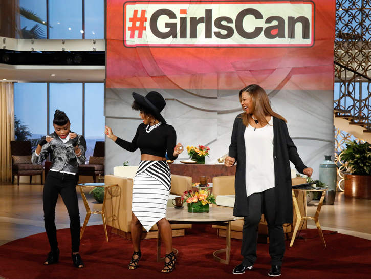 Janelle Monae with one of her biggest fans, Mckynzie Duhon and Queen Latifah on her show.