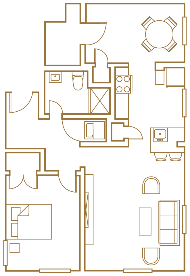 one bedroom one den floor plan