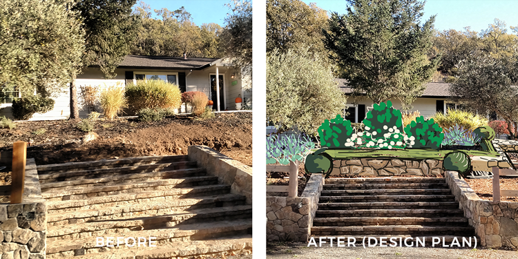 ENTRY  Creating a visual interest at the top of the first set of stairs draws visitors up. The rock walls are reinforced with boxwood to add structure in traditional style.