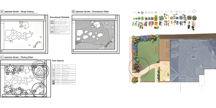 PLANS  Due to the complexity of this project, we rendered plans to show the property and front yard planting plan. The Japanese garden design plan includes the ground cover and the placement of individual plants.