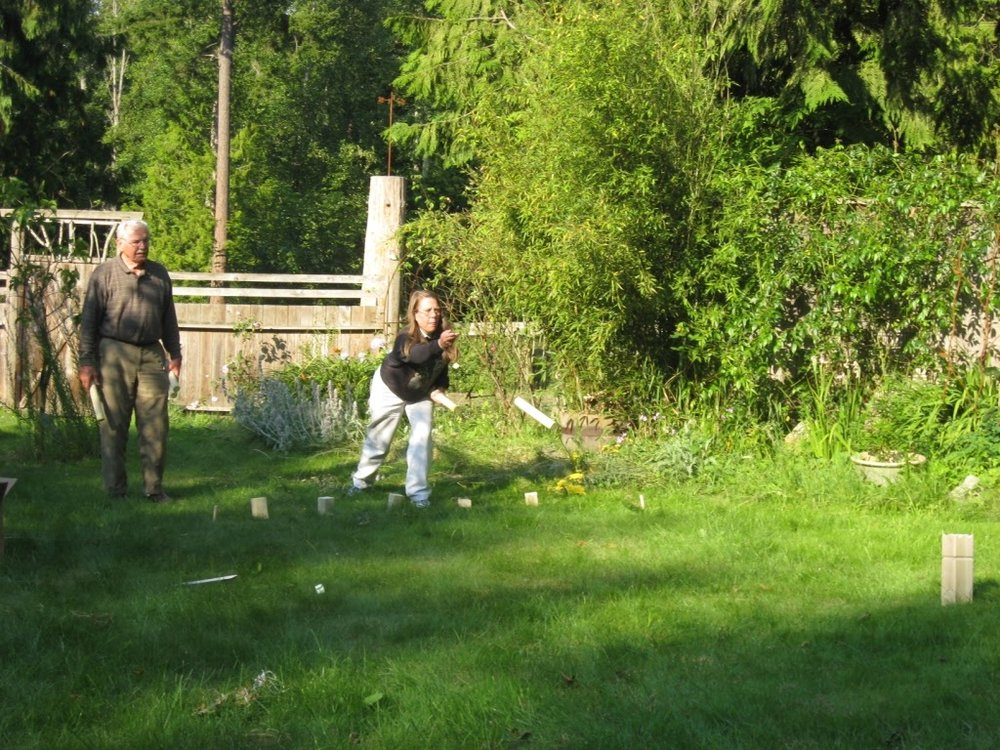 A space that has been designed with the activities you want in mind will become multi purpose. In this case we needed to do some maintenance but the lawn still functioned for the family Kugg match (Viking Stick Game).