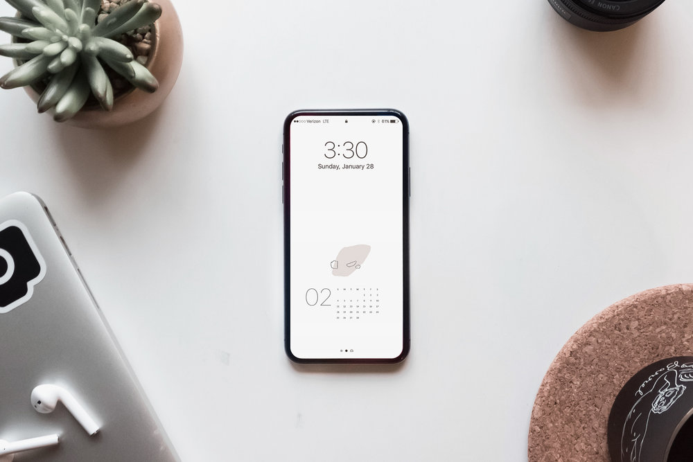 Free February Calendar Download, Desktop + Mobile   Ease Studio free calendar, free calendar download, February calendar, iphone wallpaper, desktop wallpaper, calendar wallpaper