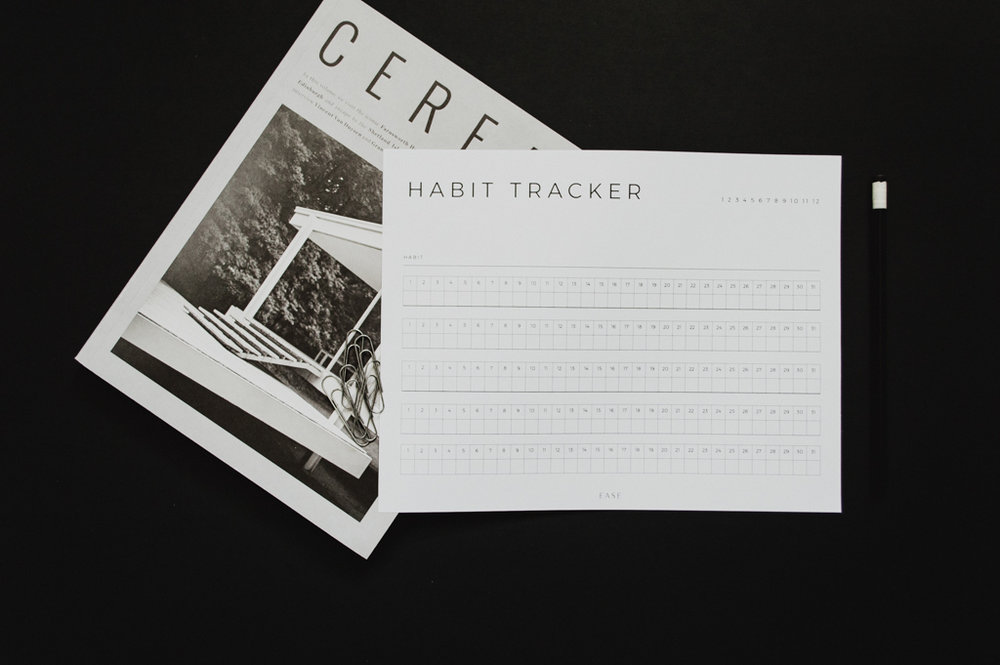 Free Habit Tracker by Studio Ease #habittracker #goals #desk routines, daily routines, morning routines, routines for entrepreneurs, goal setting, action plan, download, free, printable