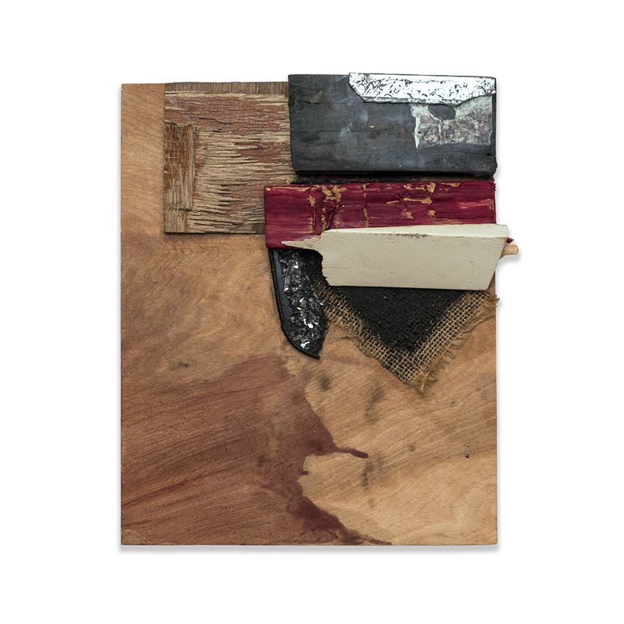 TRUTH WILL WIN 2015 found wood, shattered mirror, acrylic glaze 12 x 2.5 x 10 in