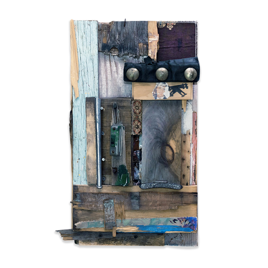 DING DONG 2012 found wood, door bell, mixed media collage 24 x 4 x 13 in