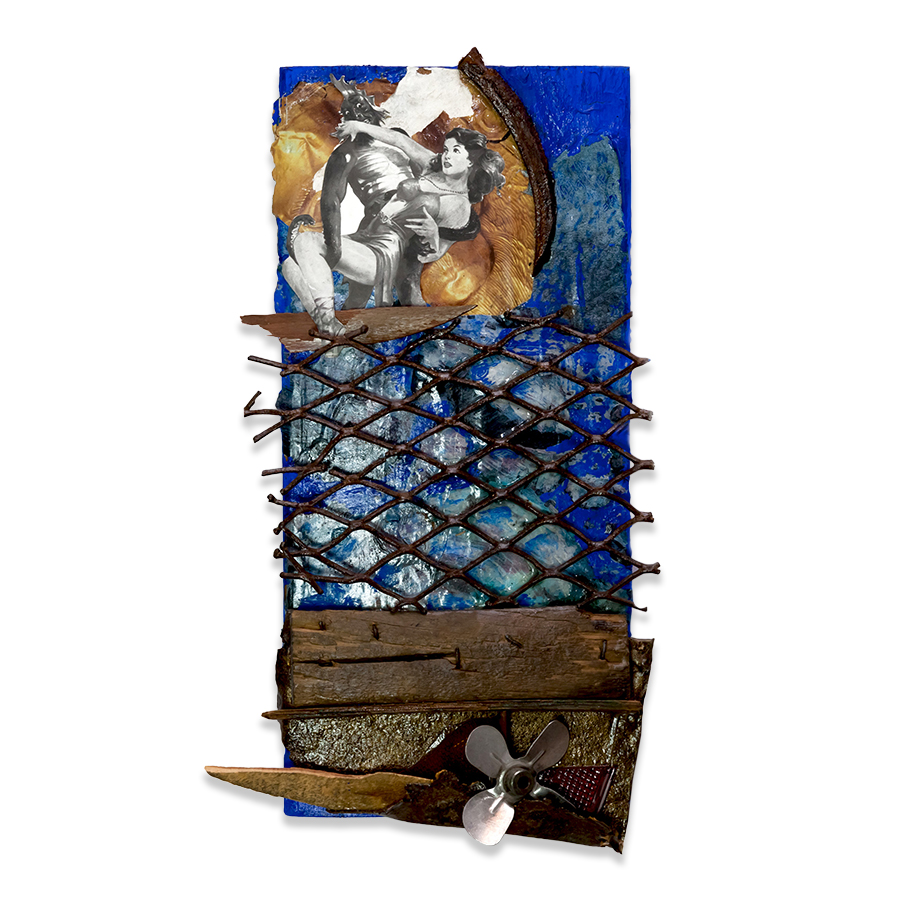 RESCUE ME 2012 found objects/mixed media collage 16 x 8 in