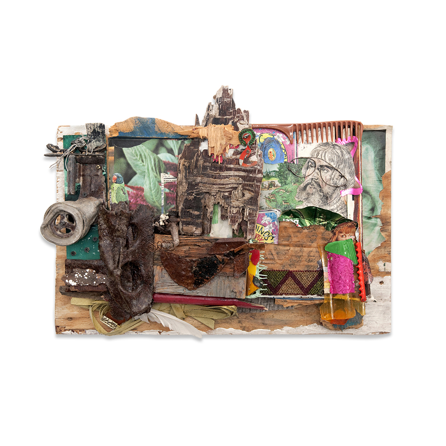 ONCE UPON A TIME 2011 found objects/mixed media collage 14 x 4 x 24 in