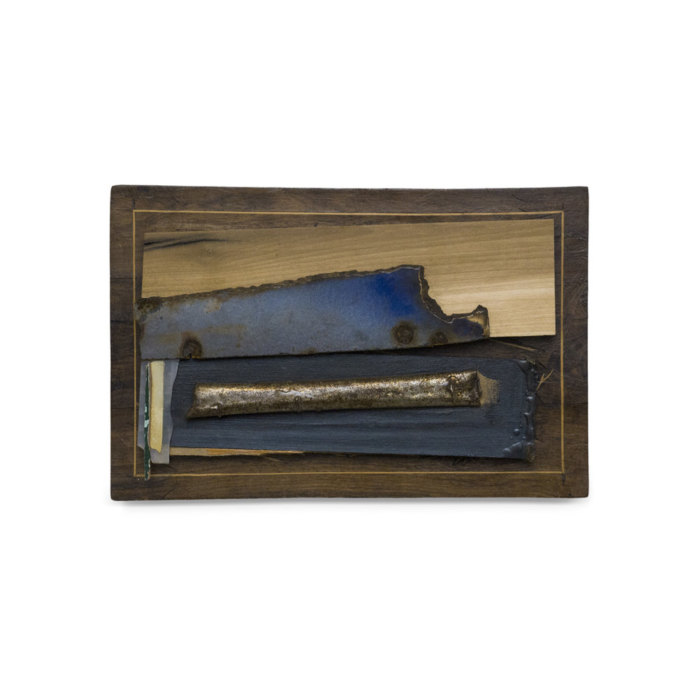 BLUE CADILLAC 2016 found wood and mixed media 9.5 x 14.5