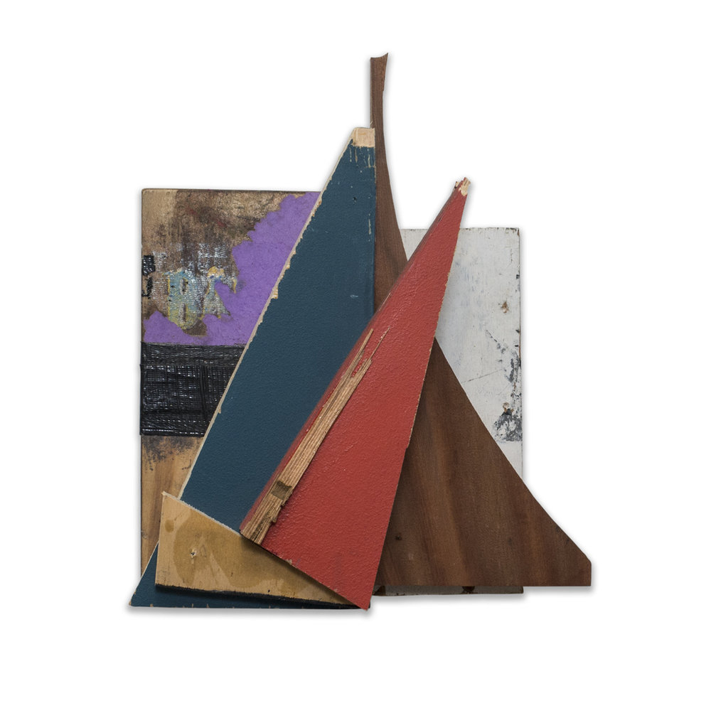 3 ANGLES 2015 found wood and mixed media 15 x 4.5 x 12.5 in
