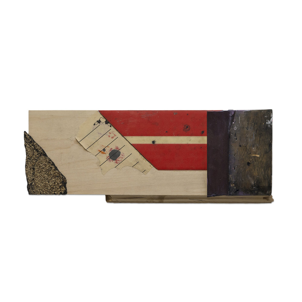 SPATIALLY CONCERNED 2016 found wood, retired squeegee and mixed media 6.25 x 2.5 x 16 in