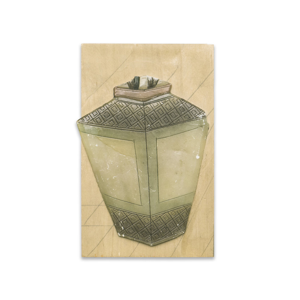 LANTERN 2016 found wood and ceramic 10.5 x 6.75 in