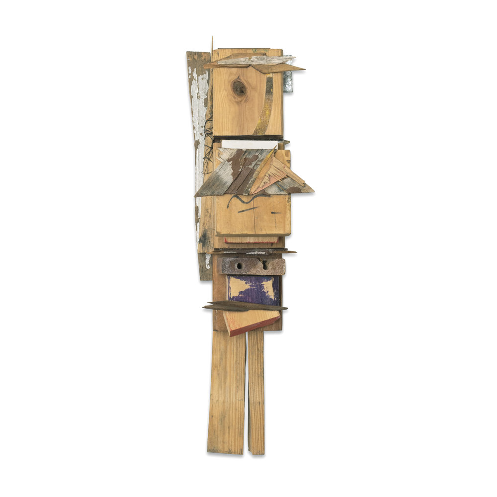 TOTEM 2016 found wood and mixed media 20 x 8 x 5.5 in