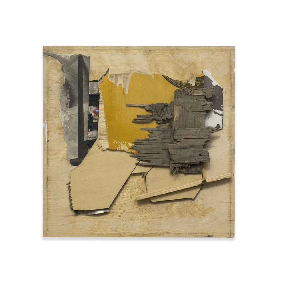 DISTRESSED 2015 found wood and mixed media 12.5 x 12.5 in