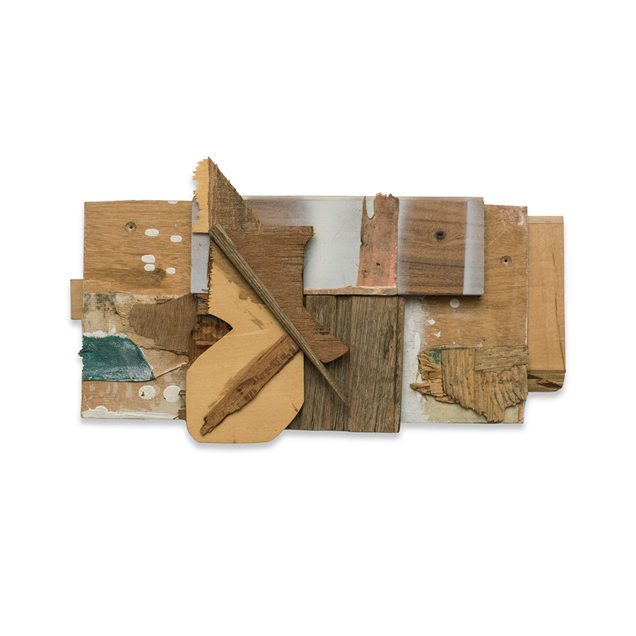 AWKWARD SCENE 2015 found wood and mixed media 9 x 3.5 x 15.5 in