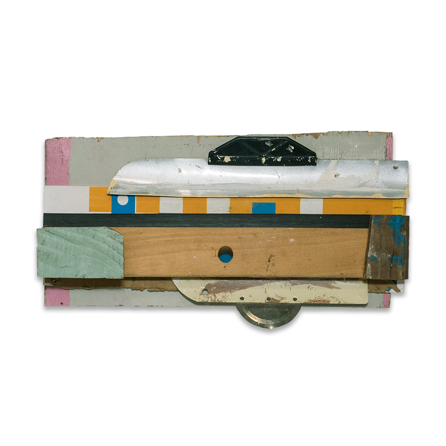 2015 found wood and mixed media 9.5 x 3.5 x 18 in