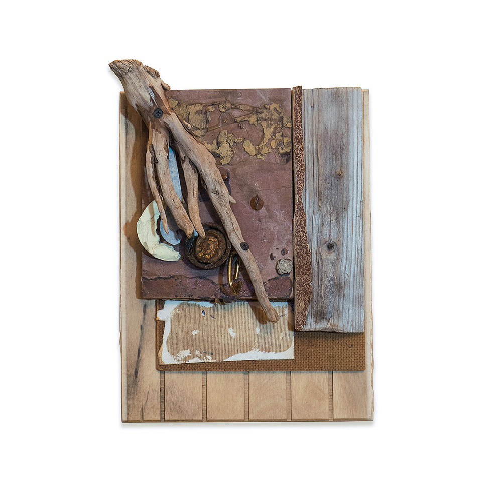 Gibnut 2017 found objects/mixed media 13 x 3 x 9 in