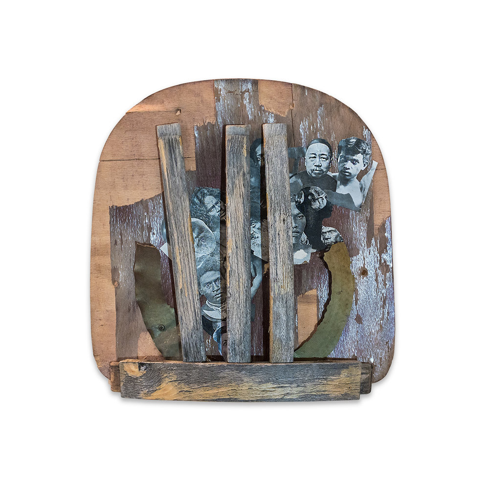 LINEAGE 2014 found wood/mixed media 15.5 x 3 x 15 in