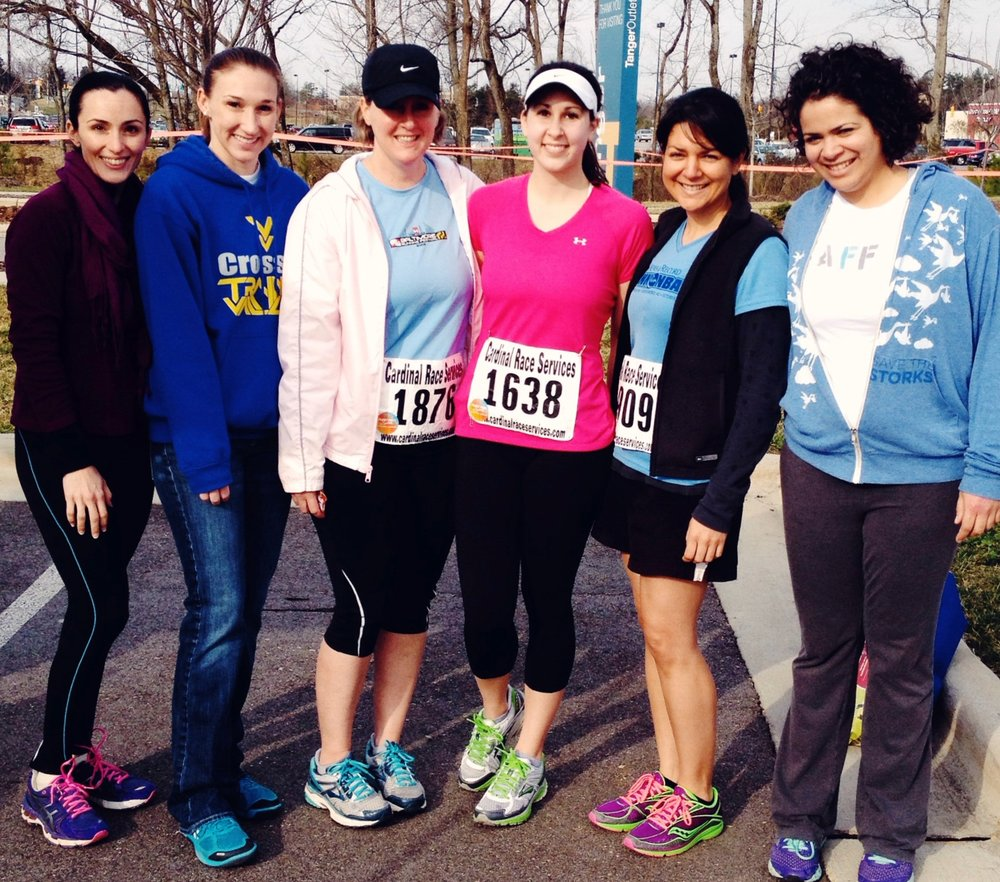 Team AFF at The Freedom Run 5k: Dr. Cindy Fraga-Rizo, Kali March, Courtney Dunkerton, Amy Henning, Jilian Hicks and Liz Leon