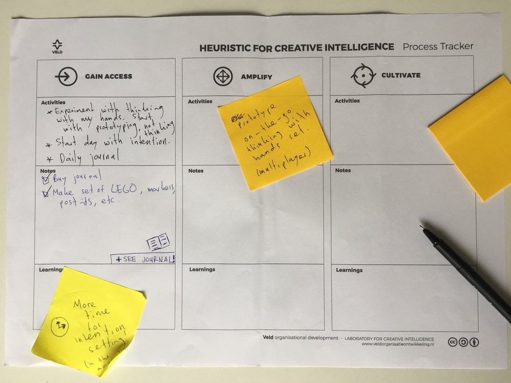We'll design our own experiments and carry out in-depth research using the heuristic for Creative Intelligence.