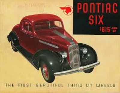 1935 Pontiac Standard six  - It was A simple idea by designer Frank Hershey to unify A new rounded grill with the rest of the car. the silver streak became a Pontiac trade-mark that would last 22 years...UNFORTUNATELY That was about a decade PAST ITS SELL-BY DATE. ( www.carstylecritic.com )