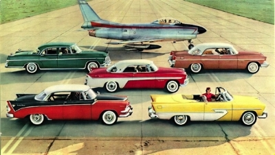 Chrysler's Forward Look lineup (Chrysler ad art CIRCA 1956)