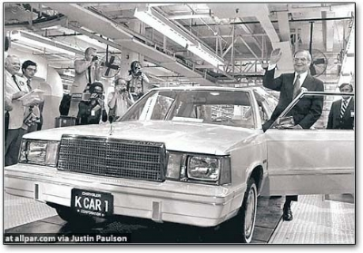 PLYMOUTH reliant K: the first k-car poses with its proud papa