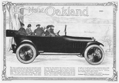Chasing Cadillac -  The 1916 Oakland  was powered by America's second practical application of the V8 engine ( www.Americanautomobiles.com )