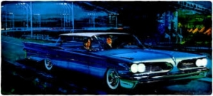 as much as wide tracks or split grills, Art Fitspatrick's ADVERTISING artwork helped to mold Pontiac's image as a style leader  ( www.Fitz-Art.com )