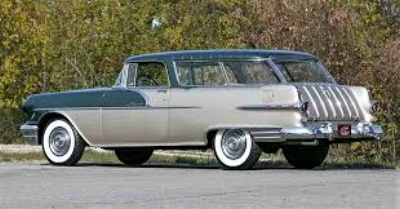 THEY WEREN'T ALL DULL. THE  1956 PONTIAC SAFARI  WAS A VERY NICE VARIATION ON CHEVY'S MARVELOUS NOMAD ( www.Journal.ClassicCars.com )