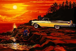 Mercury Convertible at Sunset   by Bruce Kaiser  ( www.KaiserCarArt.com )