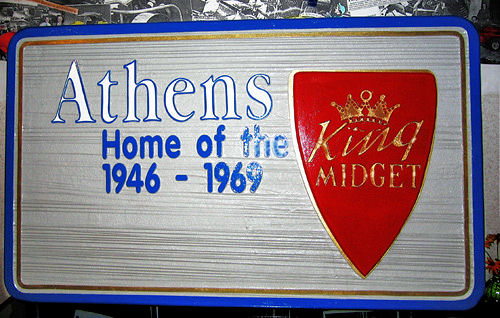 Designed by the King Midget Club, this sign welcomes visitors to Athens, Ohio