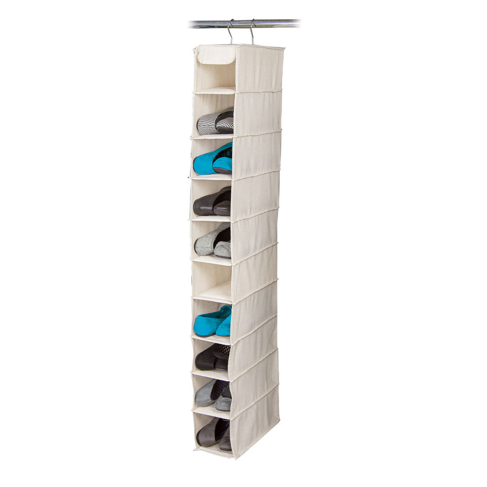 10 Shelf Shoe OrganizerItem #80842 - Features an open front, deep shelf design to provide extra storage and easy access for ten pairs of shoes.Dimensions: 6.25
