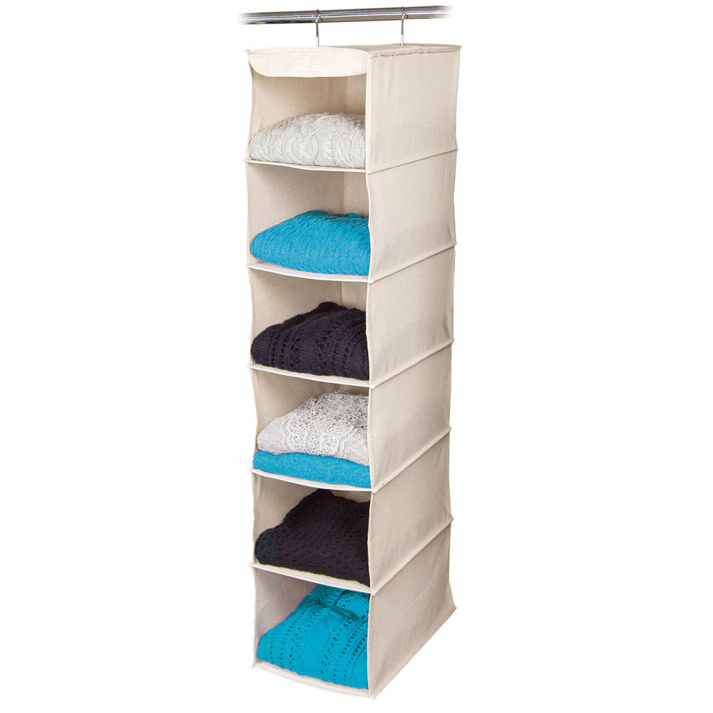 6 Shelf Sweater OrganizerItem #80841 - Features an open front, deep shelf design. Easily manage and organize your cluttered drawers. Dimensions: 10