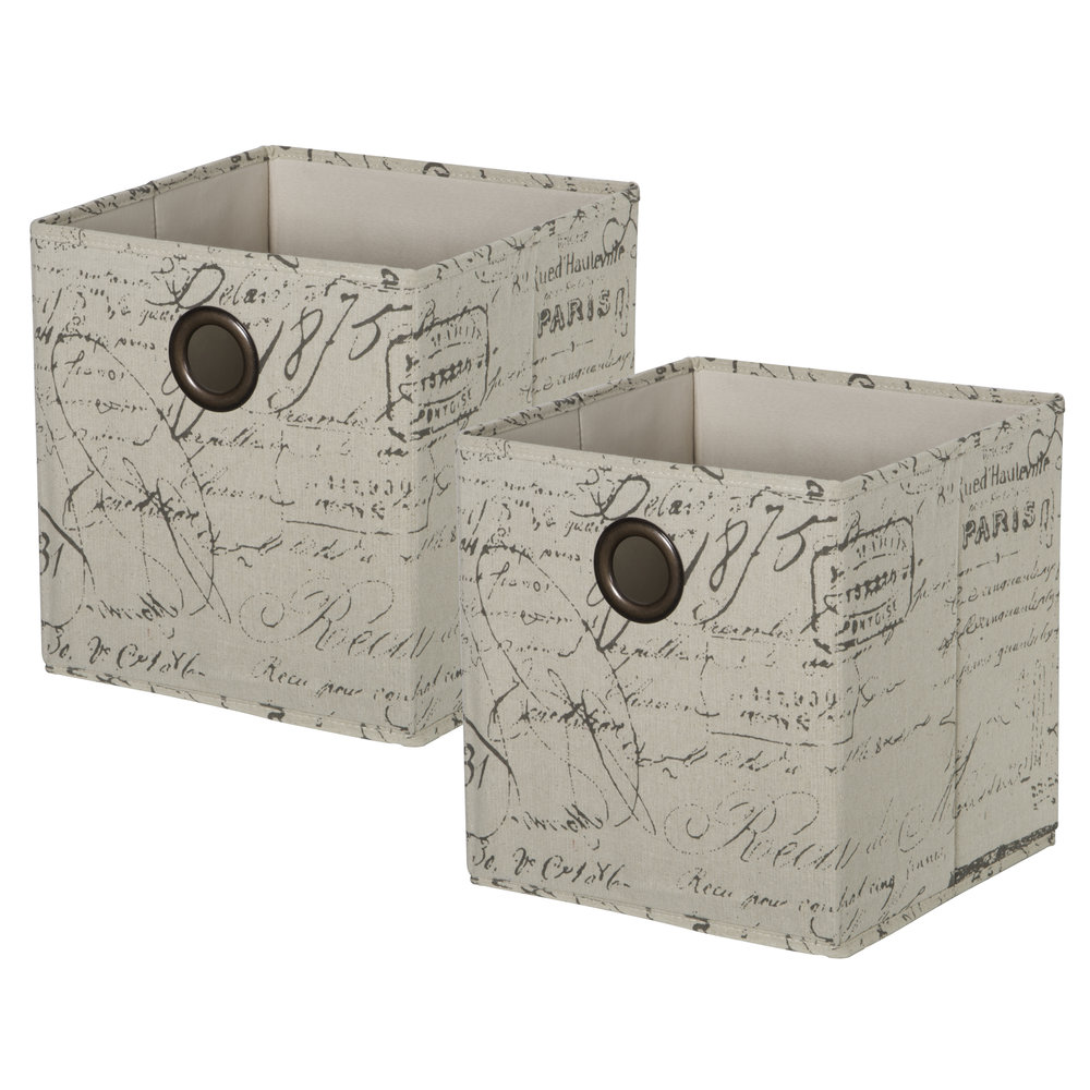 Set of 2 KD Cubes - ScriptItem #86101002 - Script KD cubes with metal grommet handles. Fold flat when not in use.Dimensions: 11