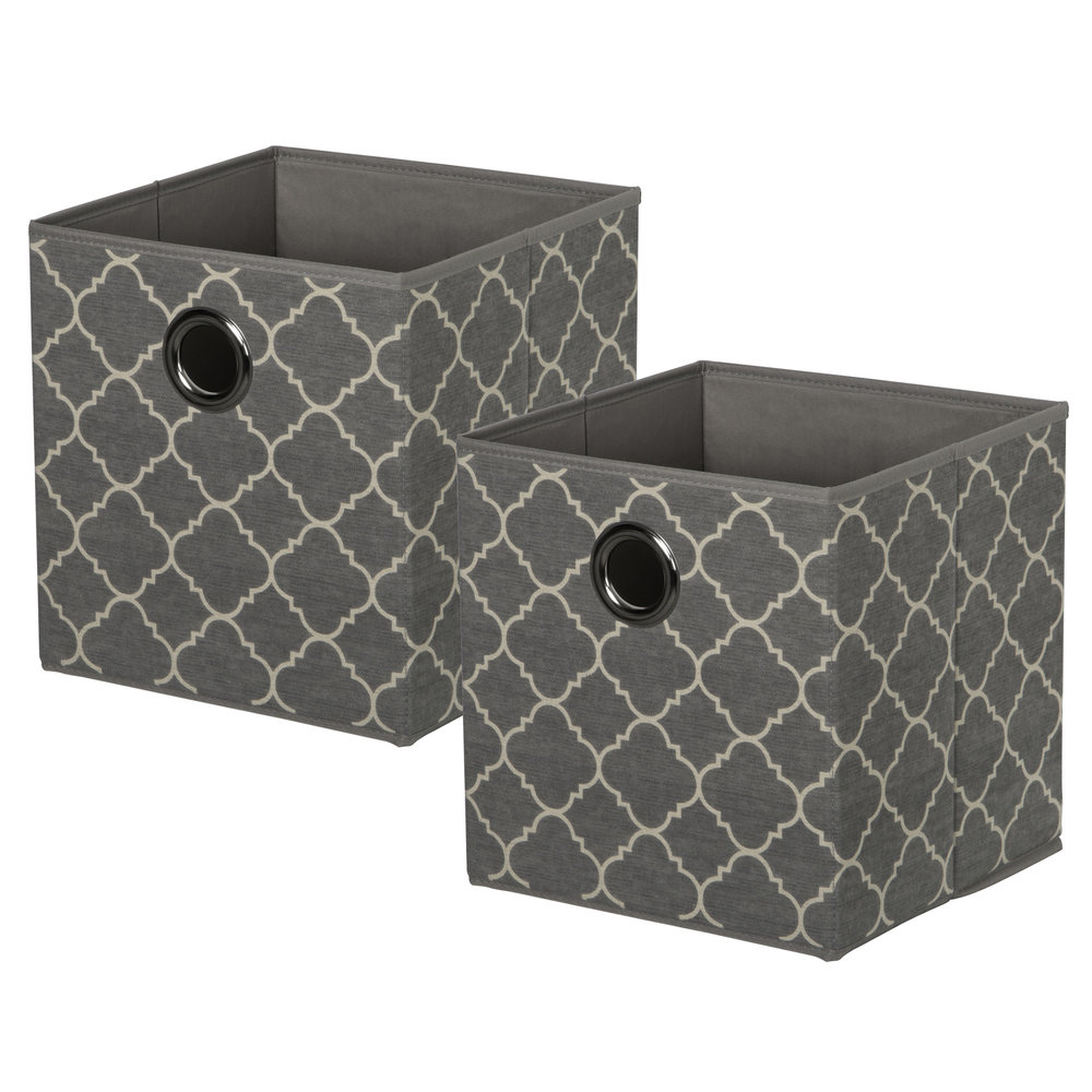 Set of 2 KD Cubes - QuatrefoilItem #86101052 - Quatrefoil KD cubes with metal grommet handles. Fold flat when not in use.Dimensions: 11