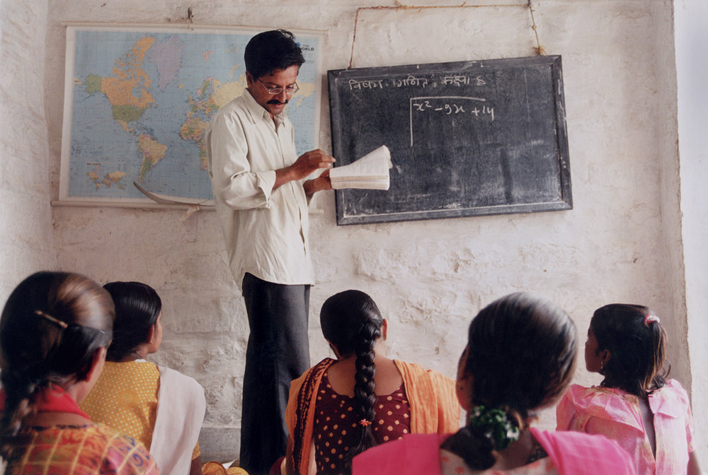 Girls being taught mathematics at the Veerni Project School. By Jessica Scranton