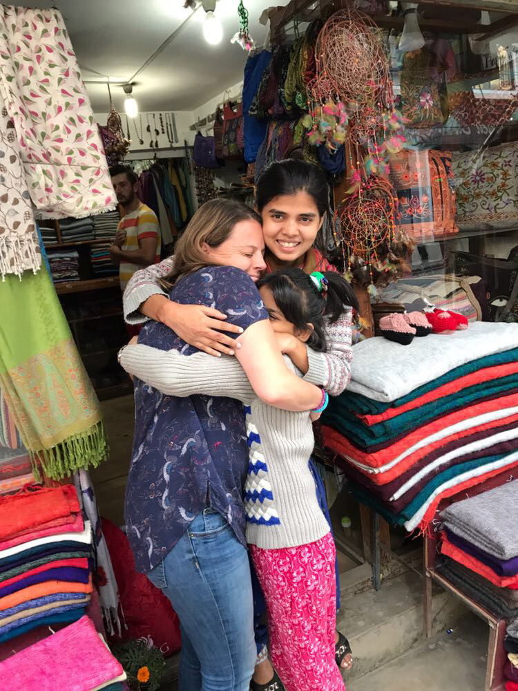 Saheen and her helper at her shop, Katmandu