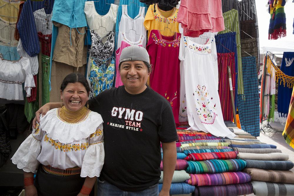 Market venders in Otavalo