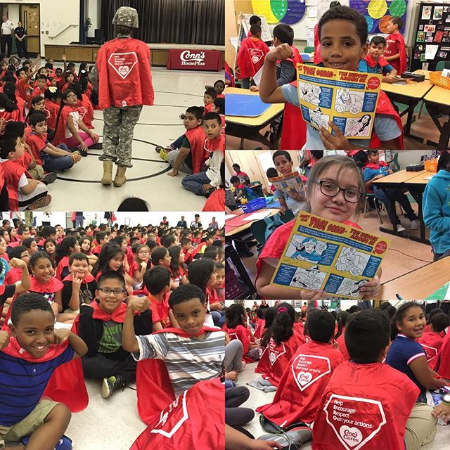 "Students wore superhero capes yesterday to kick off Conn's Cares 2017 in Beaumont, Texas. OSP worked with Conn's HomePlus to build the community giving program from scratch. The first two years focused on children's literacy, resulting in nearly $500K in books being donated to children across Conn's national footprint. The 2017 program – ""Heroes Among Us"" – is introducing kids to role models in their community. Kudos to our everyday heroes, Conn's, for doing the right thing! #ConnsCares"